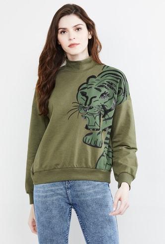 MAX Printed High-Neck Sweatshirt