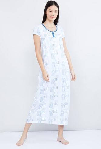 MAX Printed Cap Sleeves Night Gown