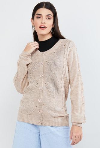 MAX Patterned Knit Embellished Cardigan