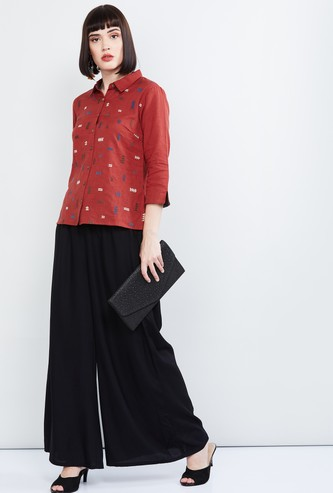 MAX Embroidered Shirt with Vented Sleeve Hems