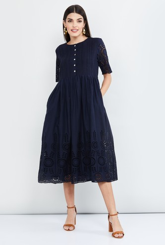 MAX Schiffli Embroidery Midi Dress