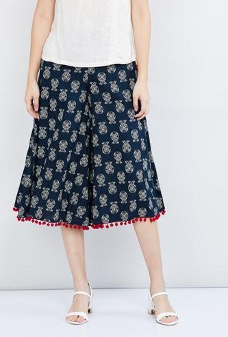 MAX Printed Culottes with Pom-Pom Detailed Hemline