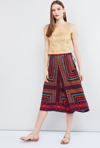 MAX Printed Culottes with Tasselled Tie-Up