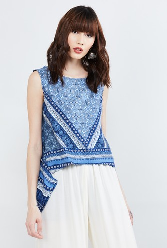 MAX Printed Sleeveless Top with Dipped Hem