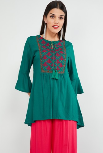 MAX Embroidered Yoke Tunic with Bell Sleeves