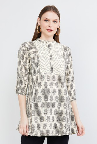 MAX Printed Tunic with Button Placket