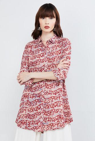 MAX Typographic Print Three-quarter Sleeves Tunic