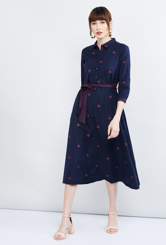 MAX Patterned Button-Down Tie-Up Waist Dress