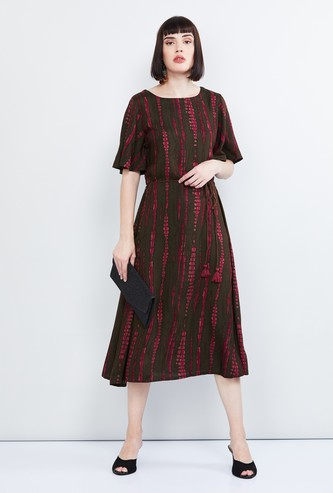MAX Printed Midi Dress with Tasselled Tie-Up