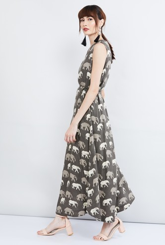 MAX Elephant Print Tie-Up Waist Maxi Dress