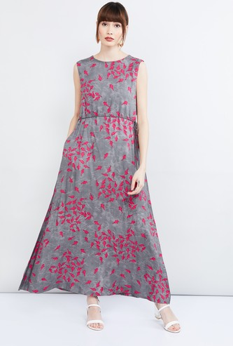 MAX Printed Tie-Up Waist Maxi Dress