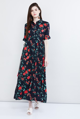 MAX Floral Print Rolled-Up Sleeves Maxi Dress