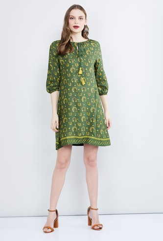 MAX Printed Three-quarter Sleeves Shift Dress