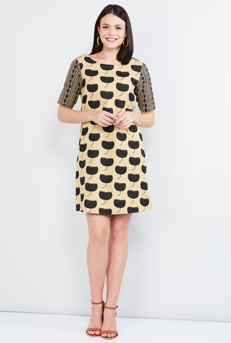 MAX Printed Short Sleeves A-line Dress