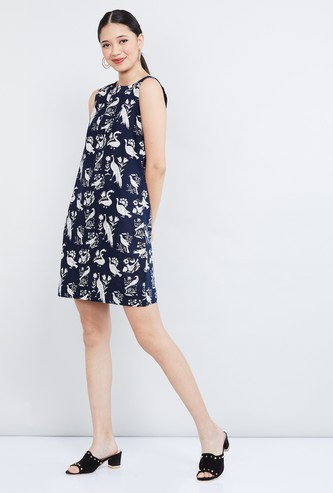 MAX Printed Boat Neck Dress