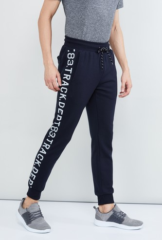 MAX Typopgraphic Print Panelled Joggers