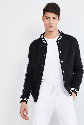 MAX Solid Button-Down Baseball Collared Jacket