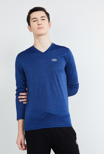MAX Textured V-neck Full Sleeves T-shirt