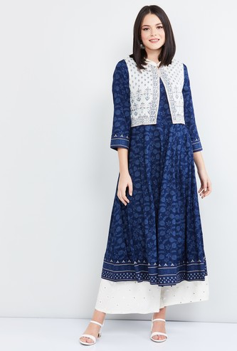 MAX Printed Kurta with Front Open Shrug