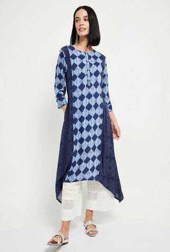MAX Printed Handkerchief Hem Kurta with Pockets
