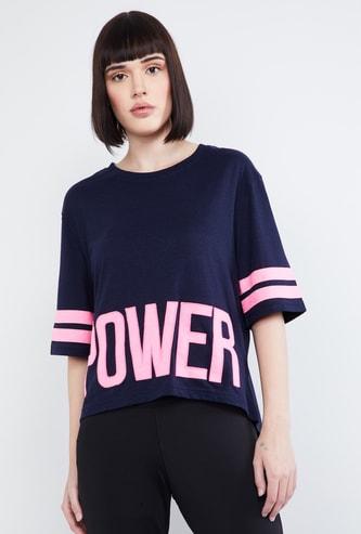 MAX Typographic Print Three-quarter Sleeves T-shirt