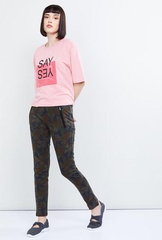 MAX Typographic Print Drop-Shoulder T-shirt