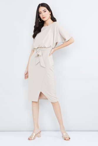 MAX Solid Popover Dress with Sash Tie-Up