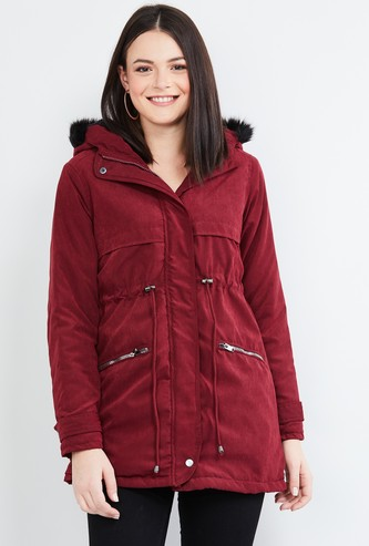 MAX Solid Full Sleeves Hooded Jacket