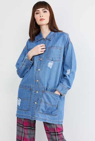 MAX Distressed Full Sleeves Denim Jacket