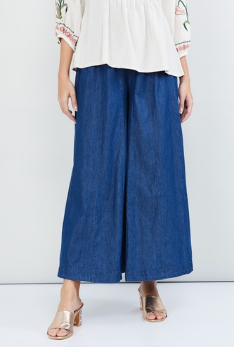 MAX Solid Denim Flared Pants