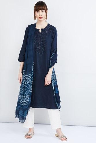 MAX Embellished Notch Neck Kurta with Straight Pants and Dupatta