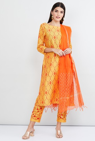 MAX Printed Straight Kurta with Cropped Pants and Dupatta