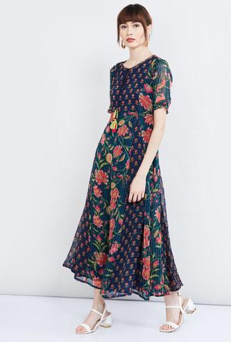 MAX Floral Print Short Sleeves A-line Maxi Dress