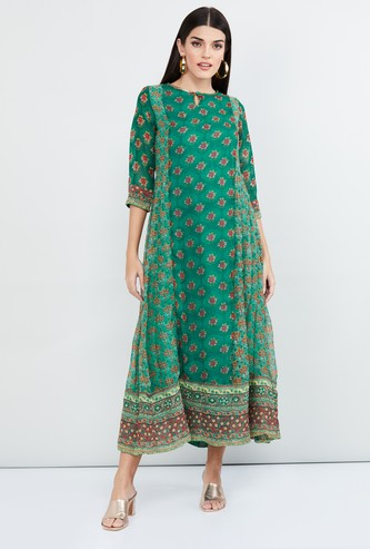 MAX Floral Print Three-quarter Sleeves Midi Dress