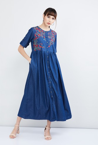 MAX Embroidered Button Down Dress
