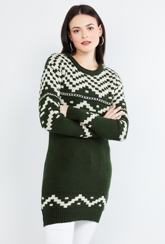 MAX Patterned Knit Long Sweater
