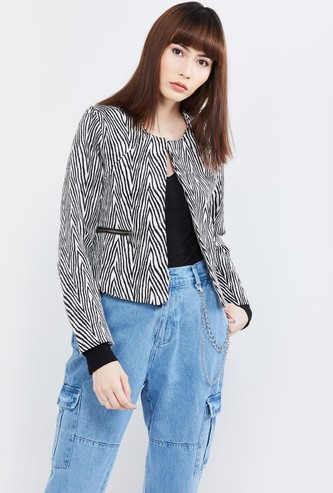 MAX Jacquard Patterned Front-Open Jacket