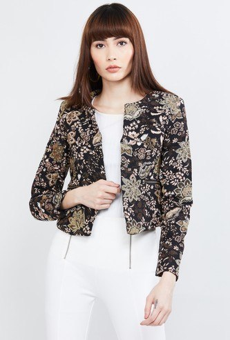 MAX Jacquard Patterned Open-Front Jacket