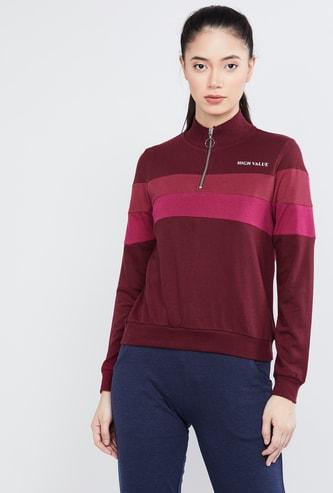 MAX Colourblocked Zip-Up High-Neck Sweatshirt