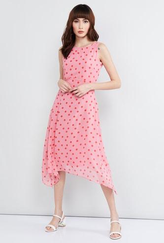 MAX Printed Dipped Hem Dress