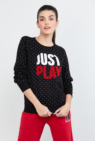 MAX Polka-Dot Print Sweatshirt with Applique