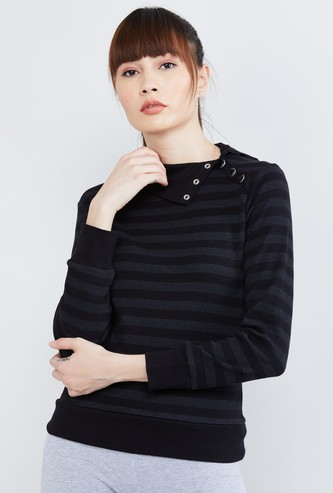 MAX Striped Button Detailed Top