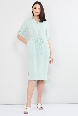 MAX Solid Roll-Up Sleeves High-Low Dress