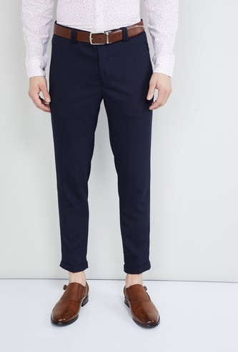 MAX Checked Slim Fit Tapered Trousers