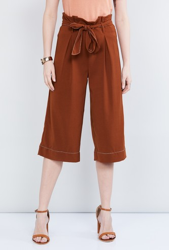 MAX Solid Paperbag Waist Culottes with Contrast Stitch
