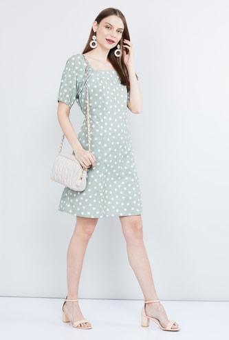 MAX Printed Puffed Sleeves Mini Dress