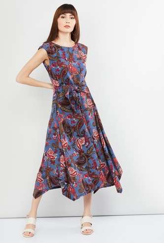 MAX Floral Print Midi Dress with Fabric Belt