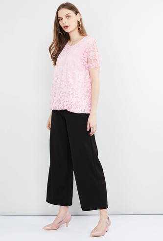 MAX Floral Lace Round Neck Top