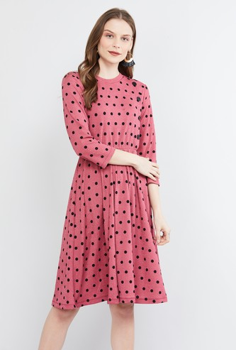MAX Polka Dot Print A-line Dress