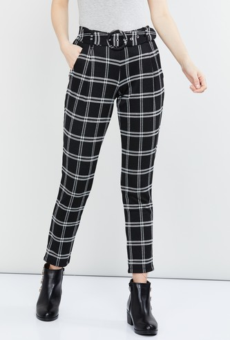 MAX Checked Regular Fit Trousers with Belt